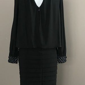 ADRIANNA PAPELL Beaded Cold Shoulder Dress